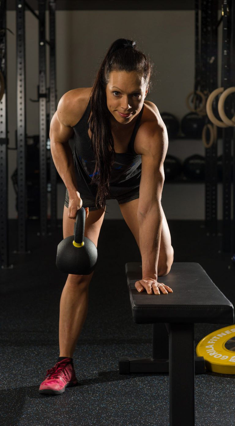 Melissa bent over row with kettle bell